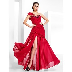 Formal Evening Military Ball Dress Ruby Plus Sizes Petite Trumpet Mermaid One Shoulder Sweetheart Floor Length Chiffon