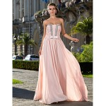 Formal Evening / Prom / Military Ball Dress - Pearl Pink Plus Sizes / Petite Sheath/Column Strapless Floor-length Chiffon Special Occasion Dresses