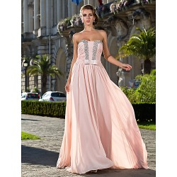 Formal Evening / Prom / Military Ball Dress - Pearl Pink Plus Sizes / Petite Sheath/Column Strapless Floor-length Chiffon