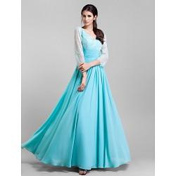 Formal Evening Prom Military Ball Dress Pool Plus Sizes Petite Sheath Column V Neck Floor Length Chiffon Lace