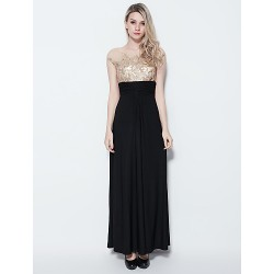 Formal Evening Dress - Multi-color Plus Sizes / Petite Sheath/Column Jewel Floor-length Jersey