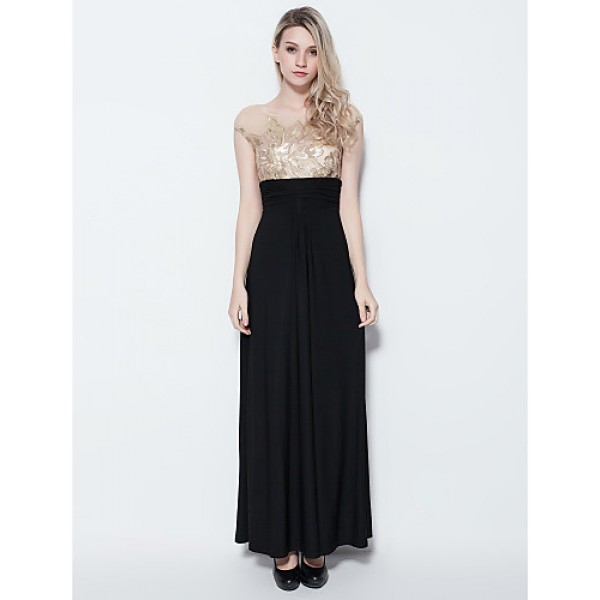 Formal Evening Dress - Multi-color Plus Sizes / Petite Sheath/Column Jewel Floor-length Jersey Special Occasion Dresses