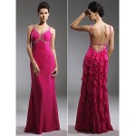 TS Couture Prom / Military Ball / Formal Evening Dress - Fuchsia Plus Sizes / Petite Sheath/Column Straps Floor-length Chiffon Special Occasion Dresses