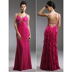 Prom / Military Ball / Formal Evening Dress - Fuchsia Plus Sizes / Petite Sheath/Column Straps Floor-length Chiffon