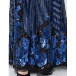 Formal Evening Dress - Ink Blue Plus Sizes / Petite Sheath/Column V-neck Floor-length Sequined Special Occasion Dresses