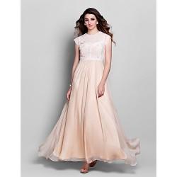 Formal Evening Prom Military Ball Dress Champagne Plus Sizes Petite Sheath Column Jewel Floor Length Chiffon Lace