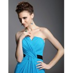 Formal Evening Dress - Pool Plus Sizes / Petite Sheath/Column Notched / Strapless Sweep/Brush Train Chiffon / Stretch Satin Special Occasion Dresses