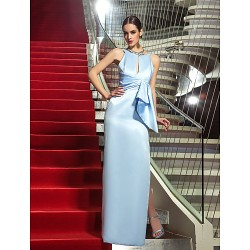 Formal Evening Military Ball Dress Sky Blue Plus Sizes Petite Sheath Column Jewel Floor Length Satin