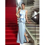 Formal Evening / Military Ball Dress - Sky Blue Plus Sizes / Petite Sheath/Column Jewel Floor-length Satin Special Occasion Dresses