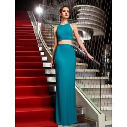 Military Ball Formal Evening Dress Jade Plus Sizes Petite Sheath Column Halter Floor Length Jersey