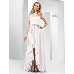 Formal Evening Dress White Plus Sizes Petite A Line Princess Jewel Asymmetrical Floor Length Stretch Satin Organza