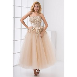 Formal Evening Dress Champagne Plus Sizes Petite A Line Strapless Ankle Length Satin Tulle