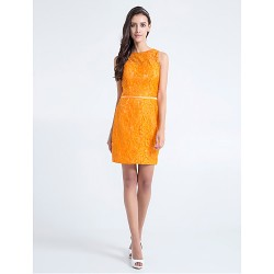 Knee-length Lace Bridesmaid Dress - Orange Plus Sizes / Petite Sheath/Column Jewel