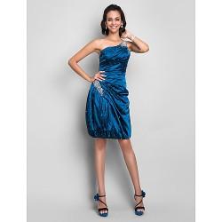 Cocktail Party Dress Ink Blue Plus Sizes Petite Sheath Column One Shoulder Knee Length Stretch Satin