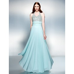 Dress Multi Color Plus Sizes Petite Sheath Column Halter Floor Length Chiffon