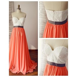 Formal Evening Dress Multi Color A Line Sweetheart Sweep Brush Train Chiffon Lace