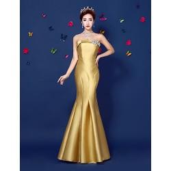 Formal Evening Dress Gold Trumpet Mermaid Strapless Floor Length Satin