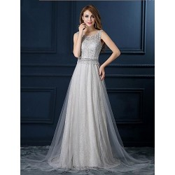 Formal Evening Dress - Silver A-line Scoop Floor-length Lace