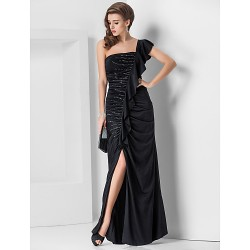 Formal Evening Military Ball Dress Black Plus Sizes Petite Sheath Column One Shoulder Floor Length Jersey
