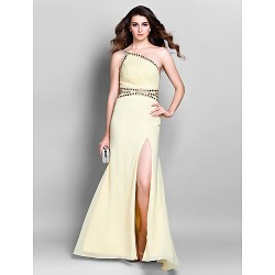Formal Evening Prom Military Ball Dress Daffodil Plus Sizes Petite Sheath Column One Shoulder Floor Length Chiffon