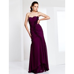 Formal Evening / Prom / Military Ball Dress - Grape Plus Sizes / Petite Sheath/Column Sweetheart / Strapless Floor-length Chiffon