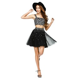 Cocktail Party Dress - Black A-line Straps Short/Mini Satin / Tulle