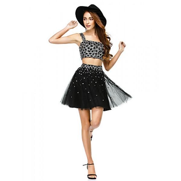 Cocktail Party Dress - Black A-line Straps Short/Mini Satin / Tulle Special Occasion Dresses