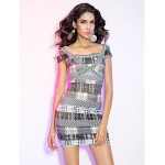 TS Couture Cocktail Party / Holiday Dress - Multi-color Petite Sheath/Column Square Short/Mini Rayon Special Occasion Dresses