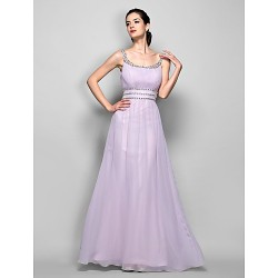 Formal Evening Prom Military Ball Dress Lilac Plus Sizes Petite Sheath Column Scoop Floor Length Georgette