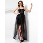 Formal Evening / Prom Dress - Black Plus Sizes / Petite A-line / Princess Spaghetti Straps / Sweetheart Floor-length / AsymmetricalTulle Special Occasion Dresses