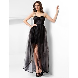 Formal Evening Prom Dress Black Plus Sizes Petite A Line Princess Spaghetti Straps Sweetheart Floor Length AsymmetricalTulle