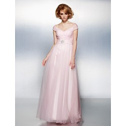 Prom Formal Evening Dress Blushing Pink Plus Sizes Petite A Line Princess Off The Shoulder Floor Length Tulle
