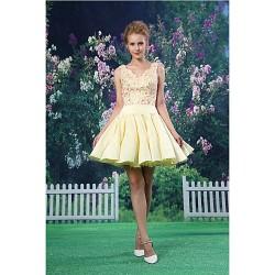 Cocktail Party Dress Daffodil A Line V Neck Short Mini Lace Satin
