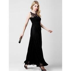 Formal Evening Dress Black A Line Scoop Ankle Length Chiffon