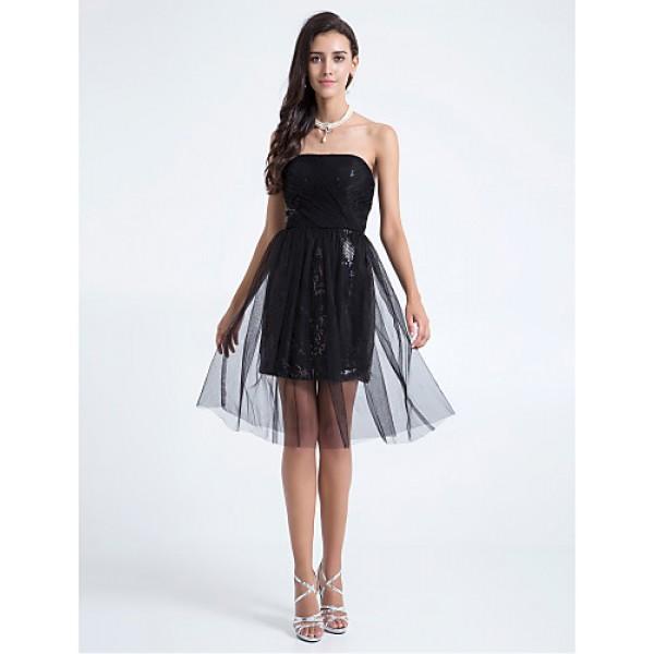 Knee-length Tulle Bridesmaid Dress - Black Plus Sizes / Petite A-line / Sheath/Column Strapless Special Occasion Dresses