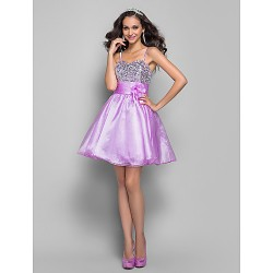 Cocktail Party / Prom Dress - Lavender Plus Sizes / Petite A-line / Princess Spaghetti Straps Short/Mini Organza