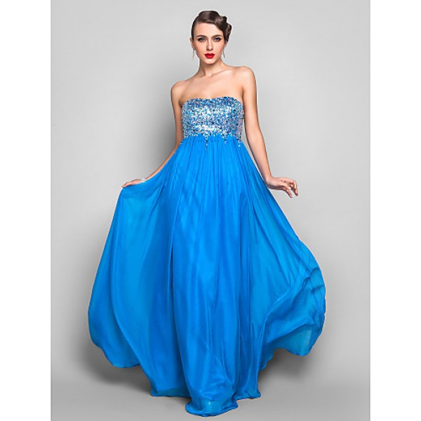 Formal Evening Prom Military Ball Dress Ocean Blue Plus Sizes Petite Sheath Column Strapless Floor Length Chiffon Sequined