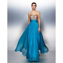 Dress Ocean Blue Sheath Column Sweetheart Floor Length Chiffon