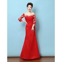 Formal Evening Dress Ruby Trumpet Mermaid Jewel Floor Length Lace