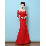 Formal Evening Dress - Ruby Trumpet/Mermaid Jewel Floor-length Lace Special Occasion Dresses
