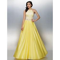 Dress Daffodil Plus Sizes Petite A Line Halter Floor Length Chiffon