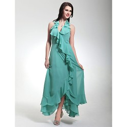Formal Evening Military Ball Dress Jade Plus Sizes Petite Sheath Column Halter V Neck Tea Length Asymmetrical Chiffon