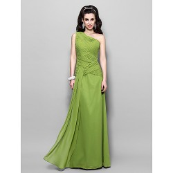 Prom Military Ball Formal Evening Dress Clover Plus Sizes Petite Sheath Column One Shoulder Floor Length Chiffon