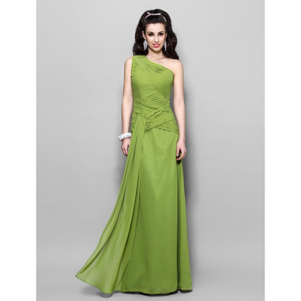 TS Couture Prom / Military Ball / Formal Evening Dress - Clover Plus Sizes / Petite Sheath/Column One Shoulder Floor-length Chiffon Special Occasion Dresses