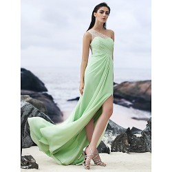 Formal Evening Dress - Sage Sheath/Column One Shoulder Floor-length Chiffon