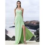 Formal Evening Dress - Sage Sheath/Column One Shoulder Floor-length Chiffon Special Occasion Dresses