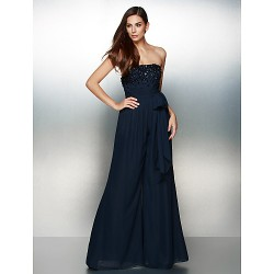 Formal Evening Dress - Dark Navy A-line Strapless Floor-length Chiffon