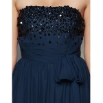 TS Couture Formal Evening Dress - Dark Navy A-line Strapless Floor-length Chiffon Special Occasion Dresses