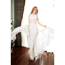 Formal Evening Dress - Ivory A-line High Neck Sweep/Brush Train Chiffon