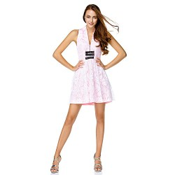 Cocktail Party Dress Candy Pink A Line V Neck Short Mini Lace Charmeuse